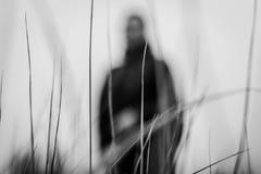 Photographie noire et blanche atmosphérique de silhouette d'un homme dans une herbe Photographie stock libre de droits