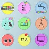 Photographie réglée d'icône de couleur Image stock