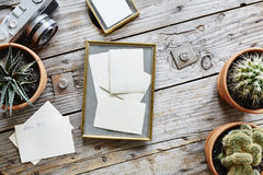Photographies and vintage frame urban design desk Stock Image