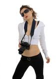 Photographing. Attractive girl with camera against white background Royalty Free Stock Photography