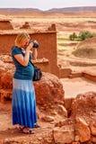 Photographing Ait Benhaddou Stock Photo