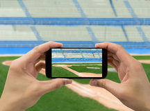 Photographing a baseball stadium Royalty Free Stock Images