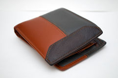 Photographing black and brown wallet on a white background. Novi Sad, Serbia Stock Image
