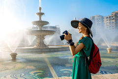 Photographing central fountain in Bucharest city Stock Photos