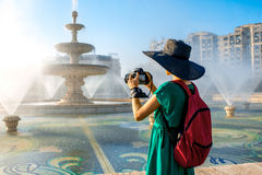 Photographing central fountain in Bucharest city Royalty Free Stock Image
