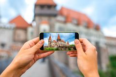 Photographing Corvin castle Royalty Free Stock Image