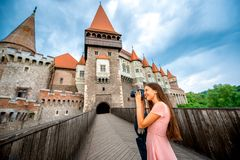 Photographing Corvin castle Royalty Free Stock Images