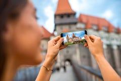 Photographing Corvin castle Stock Photo