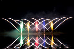Photographing Criss Cross Fireworks Royalty Free Stock Photos