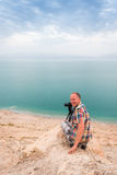 Photographing at Dead Sea coast, Israel Stock Images