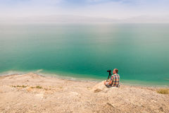 Photographing at Dead Sea coast, Israel Royalty Free Stock Photography