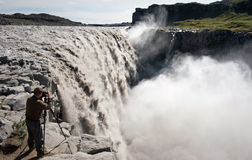 Photographing Dettifoss Royalty Free Stock Photo