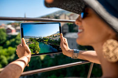 Photographing with digital tablet Mostar city Royalty Free Stock Photos