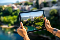Photographing with digital tablet Mostar city Royalty Free Stock Image
