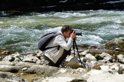 Photographing in the famous Spanish canyon Foz de Lumbier Stock Photos