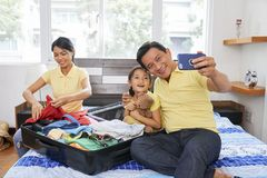 Photographing funny moments of family stock photography