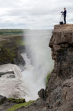 Photographing of Gullfoss Waterfall Royalty Free Stock Photos