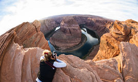 Photographing horse shoe bend Stock Image
