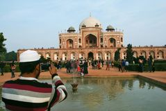Photographing the Humayun`s tomb royalty free stock photo