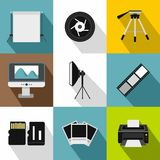 Photographing icons set, flat style. Photographing icons set. Flat illustration of 9 photographing vector icons for web Royalty Free Stock Image