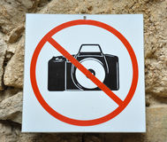 Photographing interdiction. The tablet specifying in a photographing interdiction Royalty Free Stock Photo