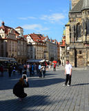 Photographing with Ipad tablet on holiday - Prague Stock Photo