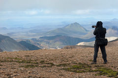 Photographing Landmannalaugar mountains Royalty Free Stock Photo