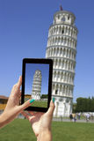 Photographing Leaning Tower with tablet Stock Images