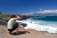 Photographing the Maui Coastline Stock Image