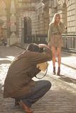 Photographing a model Stock Image