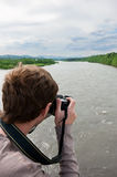Photographing of the mountain river Stock Image