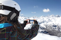 Photographing Mountains With Use Phone Stock Images