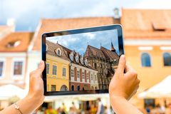 Photographing old styled buildings Royalty Free Stock Photos