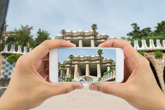 Photographing the Park Guell in barcelona Stock Photography