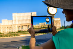 Photographing parliament building in Bucharest Stock Photos