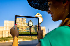 Photographing parliament building in Bucharest Stock Photo