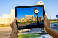 Photographing parliament building in Bucharest Royalty Free Stock Photo