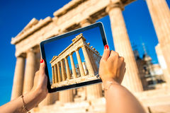 Photographing Parthenon temple in Acropolis Stock Photo