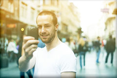 Photographing in public space Royalty Free Stock Images