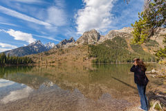 Photographing Reflection of Tetons in Fall Royalty Free Stock Photography
