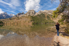 Photographing Reflection of Tetons Royalty Free Stock Image