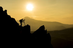 Photographing in rocky Royalty Free Stock Image