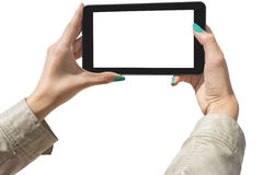 Photographing selfie with tablet Royalty Free Stock Images