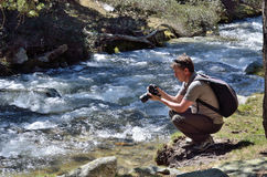 Photographing in the spring mountains Royalty Free Stock Images