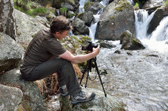 Photographing in the spring Pyrenees Royalty Free Stock Image