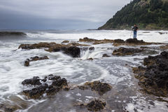 Photographing Thor's Well, Oregon Coast Royalty Free Stock Photo