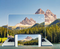 Photographing and viewing Three Peaks of Lavaredo, Italy Stock Images