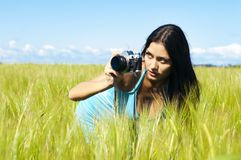 Photographing woman Stock Photo