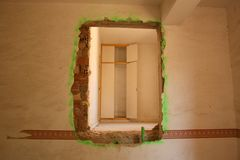 HOLE ON THE WALL. Photographs of a beautiful abandoned villa stock photos