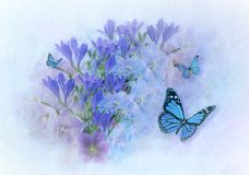 Fineart Photo Manipulation. Photographs of flowers and butterflies manipulated to look like watercolored painting stock illustration